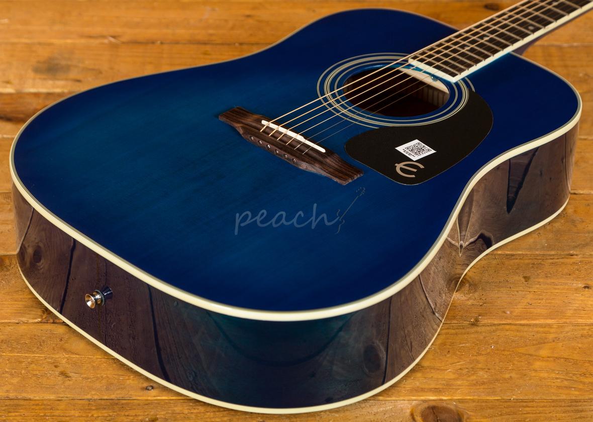 epiphone pro 1 plus trans blue acoustic peach guitars. Black Bedroom Furniture Sets. Home Design Ideas