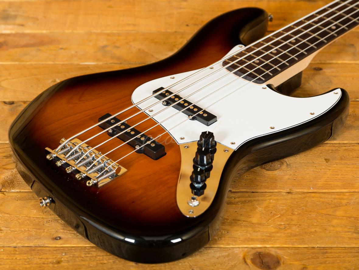 squier affinity jazz bass v sunburst 5 peach guitars. Black Bedroom Furniture Sets. Home Design Ideas