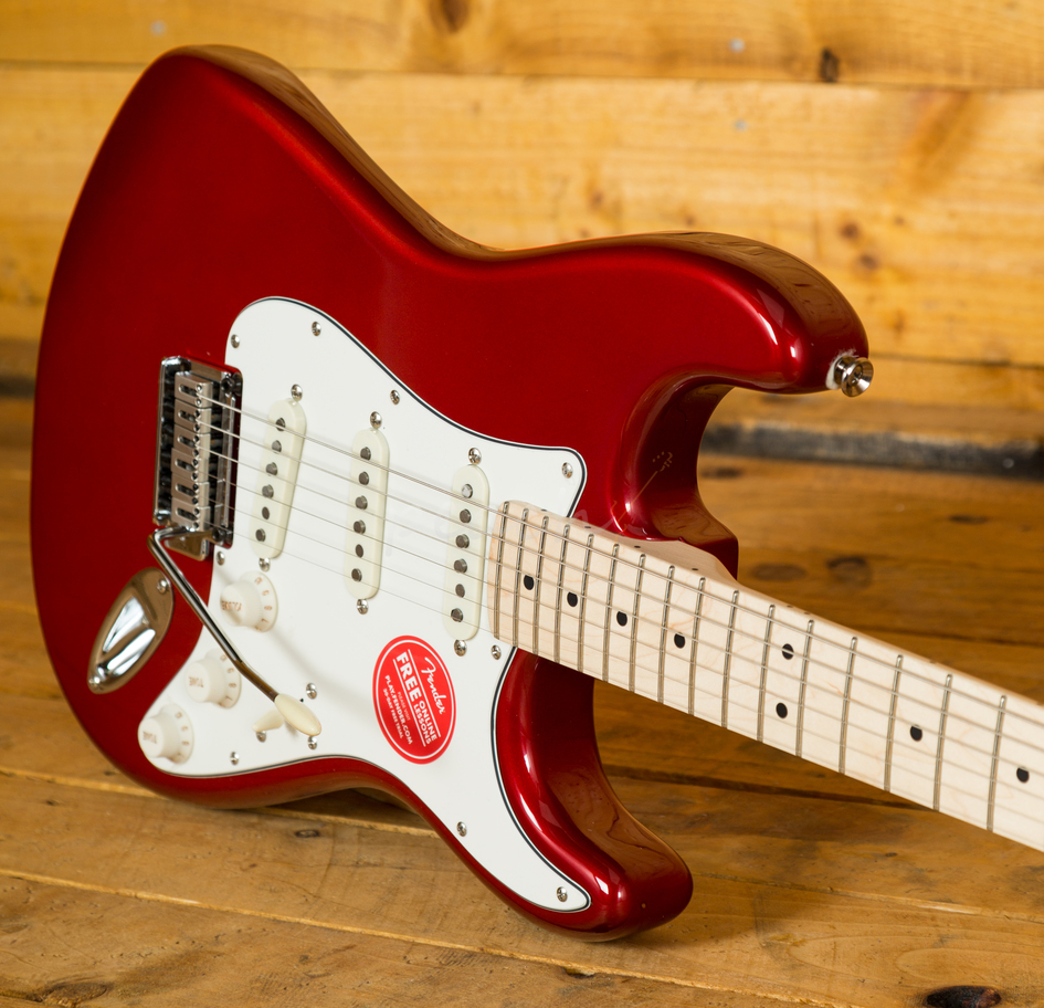 squier standard strat maple neck ca red peach guitars. Black Bedroom Furniture Sets. Home Design Ideas