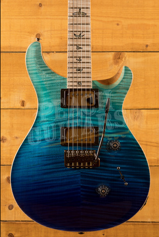 PRS Wood Library Custom 24 Blue Fade with Flame Maple Neck
