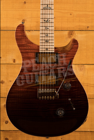 PRS Wood Library Custom 24 Fire Red to Grey Black with Flame Maple Neck