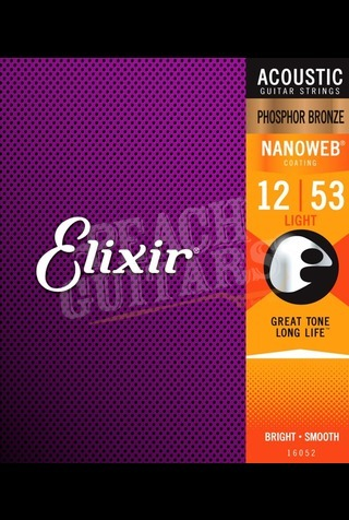 Elixir Acoustic Phosphor Bronze Nanoweb Strings - 12-53 (Light)
