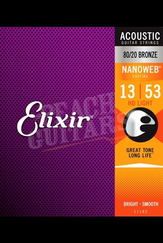 Elixir Acoustic 80/20 Bronze Nanoweb Strings - 13-53 (HD Light)