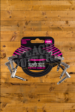 Ernie Ball 12 Inch Flat Ribbon Patch Cable - 3 Pack