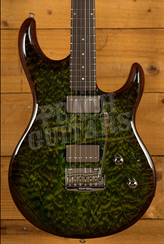 Music Man Luke III HH Luscious Green Quilt Figured Roasted Neck
