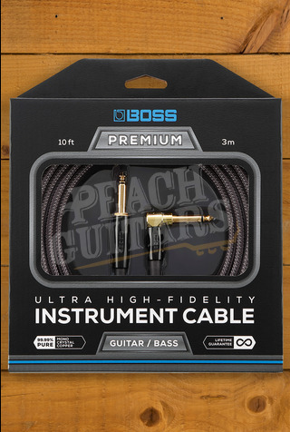 Boss PREMIUM INSTRUMENT CABLE, 10 FOOT WITH 1 STRAIGHT, 1 ANGLED JACK