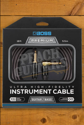 Boss PREMIUM INSTRUMENT CABLE 18 FOOT WITH 1 STRAIGHT, 1 ANGLED JACK