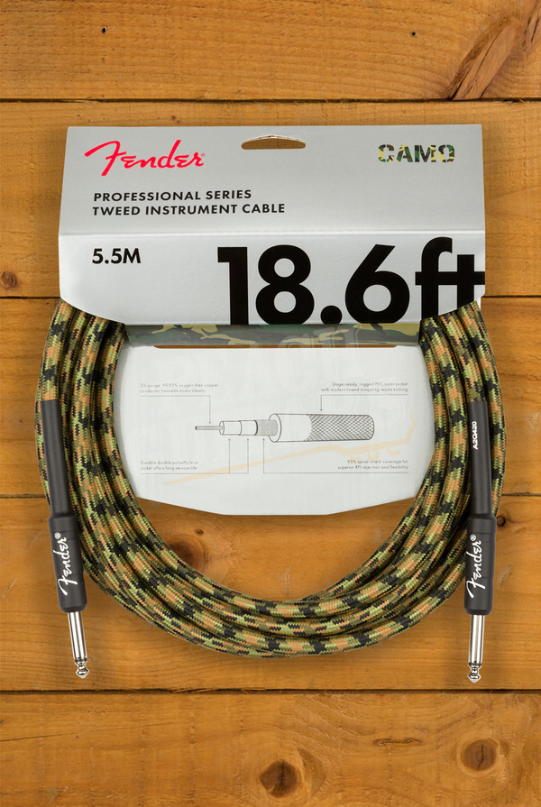 Fender Pro Series Cable Straight/Straight 18.6' Woodland Camo