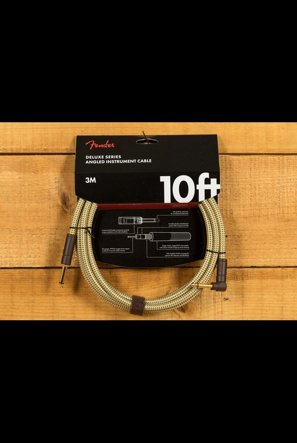 Fender Deluxe 10ft Angle/Straight Instrument Cable Tweed