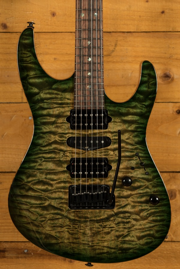 Suhr Custom Modern - Faded Trans Green Burst