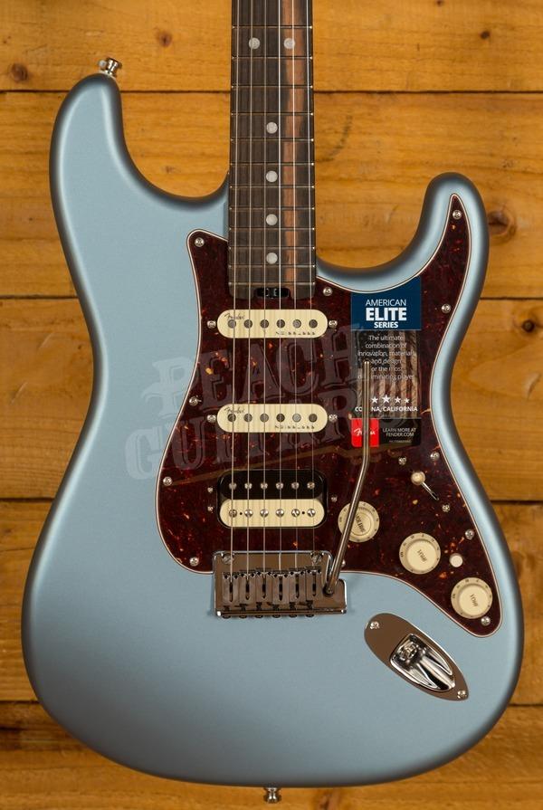 Fender American Elite Strat HSS Ebony Satin Ice Blue Metallic