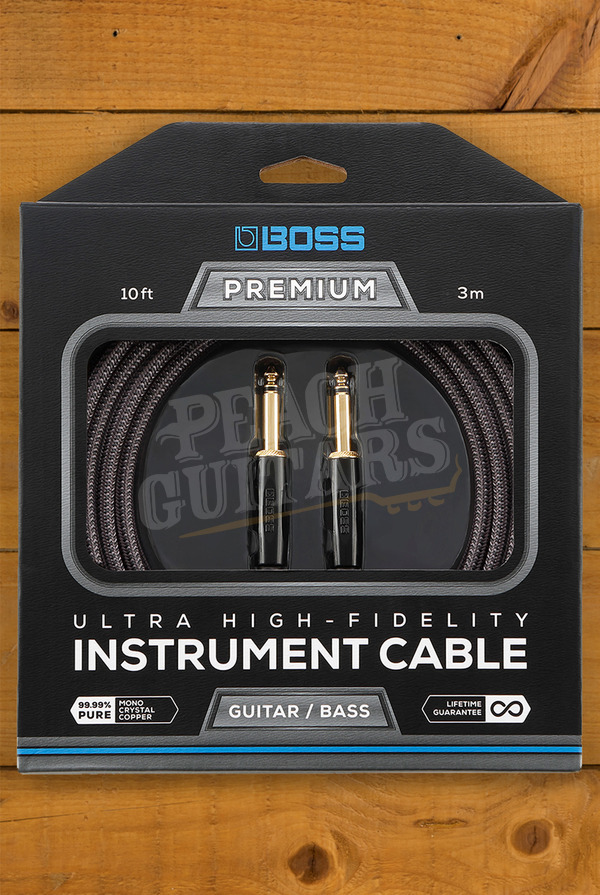 Boss PREMIUM INSTRUMENT CABLE, 10 FOOT (3M), WITH 2 STRAIGHT JACKS