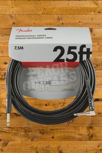 Fender Pro 25' Angled Instrument Cable Black