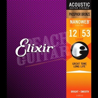 Elixir Acoustic Phosphor Bronze Nanoweb Strings - 12-53 (Light)