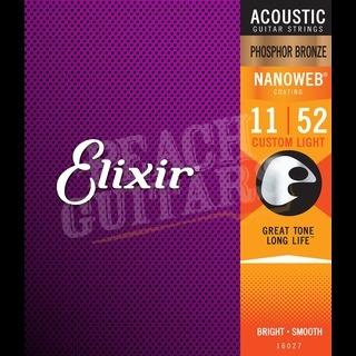 Elixir Acoustic Phosphor Bronze Nanoweb Strings - 11-52 (Custom Light)