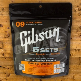 Gibson Brite Wires Electric Guitar Strings 5 Pack - 9-42