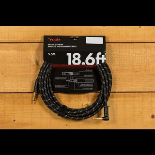 Fender Deluxe 18.6ft Angle/Straight Instrument Cable Black Tweed