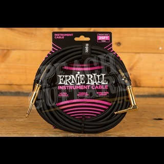 Ernie Ball 25ft Straight-Angled Cable Braided Black